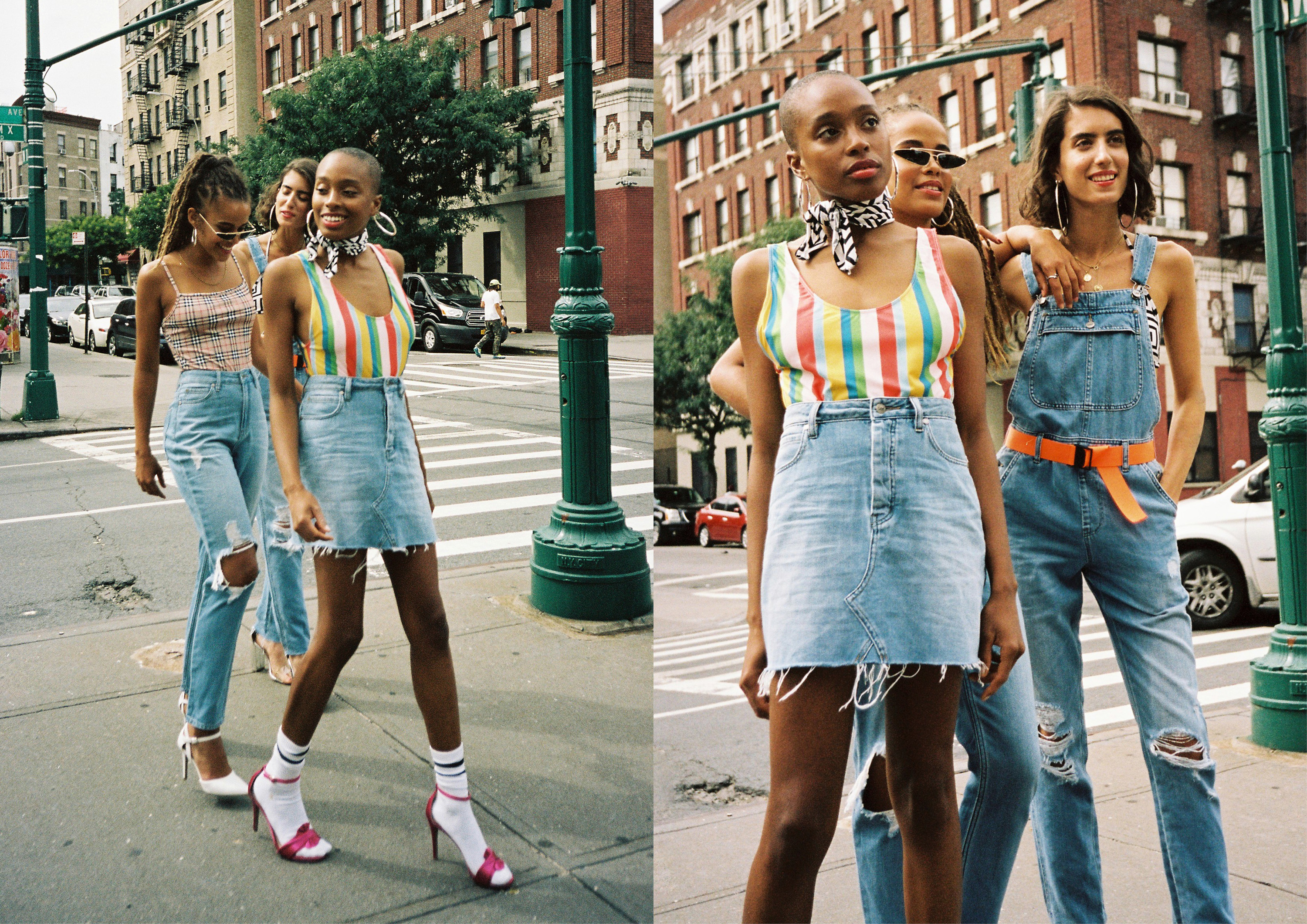 Lee Jeans Australia models in NYC wearing the new Harlem collection of denim jeans, shorts and overalls
