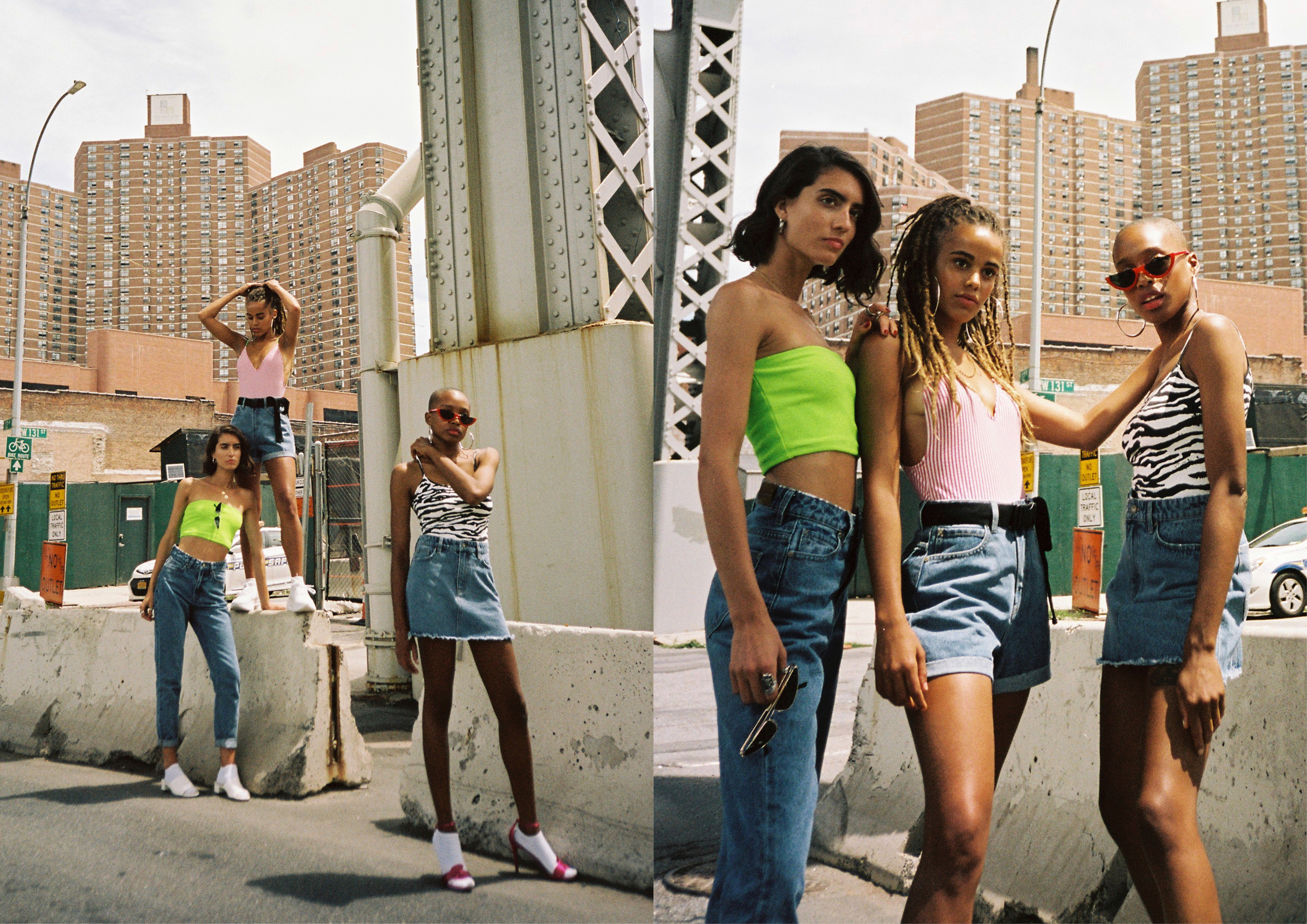 Lee Jeans Australia takes on NYC for the new Harlem collection launch. Models are wearing high waisted jeans,skirts and shorts.