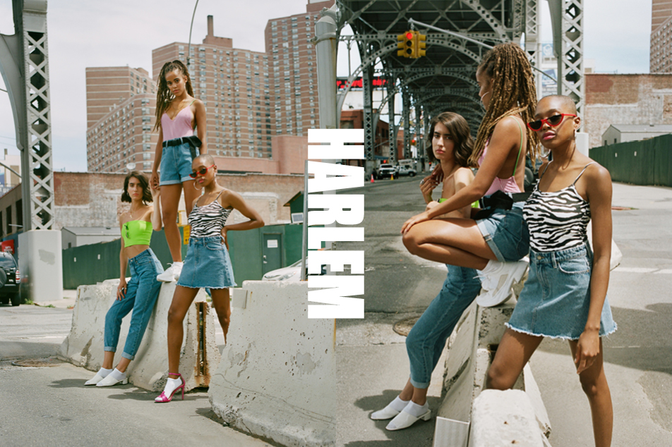 girls wearing lee jeans harlem denim collection of jeans. frayed skirts and shorts