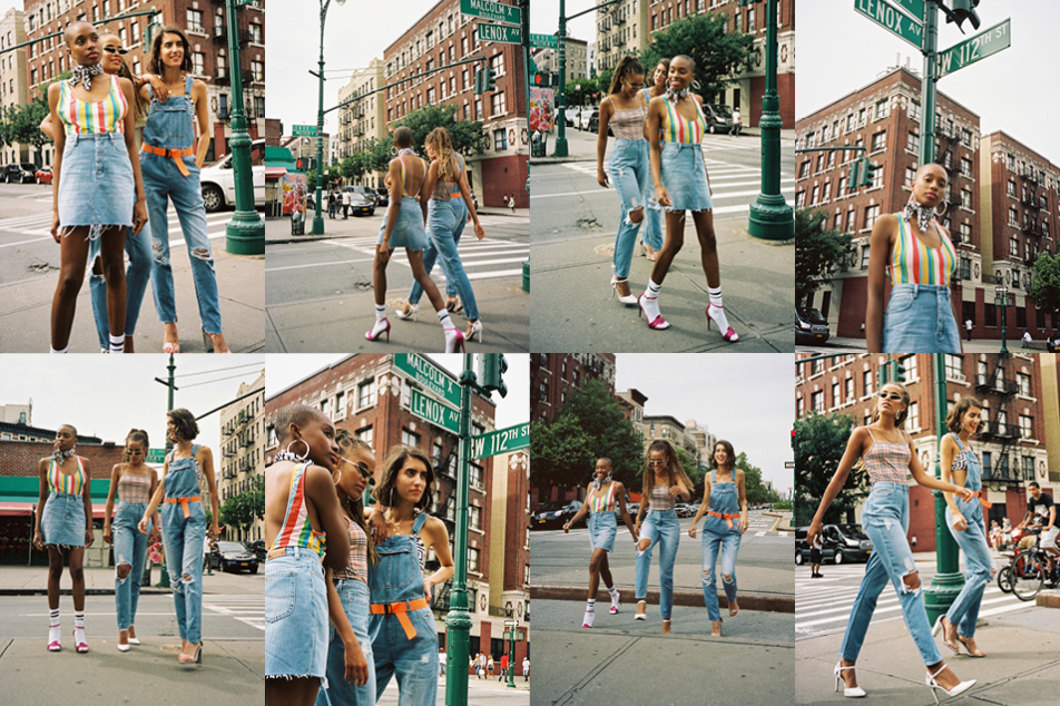 girls wearing lee jeans harlem denim collection of shorts, skirts and jeans