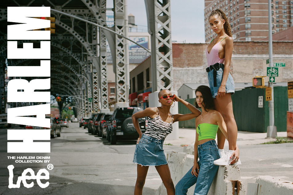 girls wearing lee jeans harlem denim collection of ripped jeans, overalls and skirts