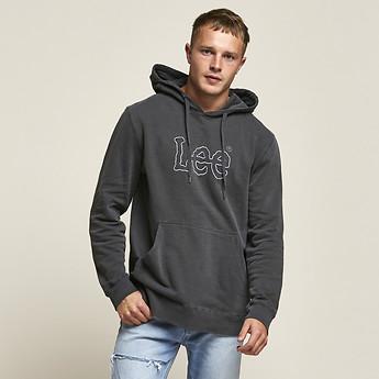 Image of Lee Jeans Australia PIGMENT BLACK HOODED JOEY SWEAT BLACK