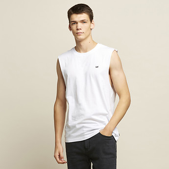 Image of Lee Jeans Australia White HIGGS LOGO MUSCLE TANK WHITE