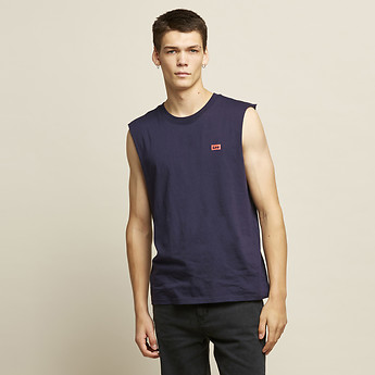 Image of Lee Jeans Australia Faded Navy RETRO LOGO MUSCLE FADED NAVY