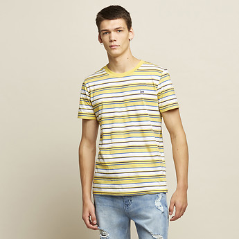 Image of Lee Jeans Australia Yellow STREET STRIPE TEE FADED YELLOW