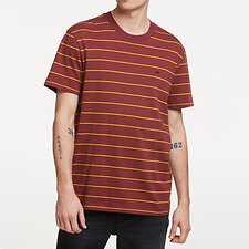 Image of Lee Jeans Australia Burgundy Stripe STRIPE NO BRAINER TEE BURGUNDY STRIPE