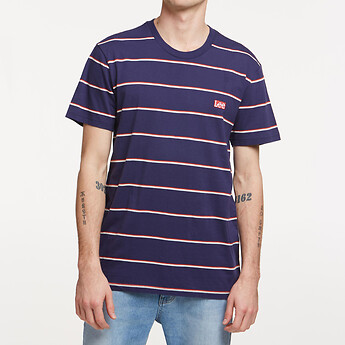 Image of Lee Jeans Australia NAVY/RED PAIRED BACK STRIPE TEE NAVY/RED