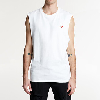 Image of Lee Jeans Australia WHITE/RED LEE NO BRAINER MUSCLE WHITE/RED