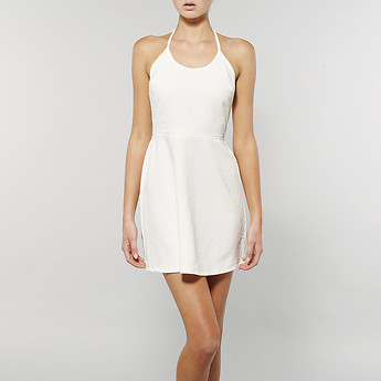 Image of Lee ALL TIED UP HALTER DRESS OFF WHITE