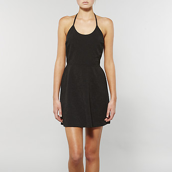 Image of Lee ALL TIED UP HALTER DRESS BLACK ECLIPSE