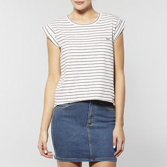 Image of Lee BACK DROP STRIPE T-SHIRT WHITE/BLACK