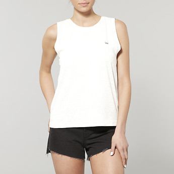 Image of Lee Jeans Australia White EMBROIDERED NO BRAINER TANK WHITE