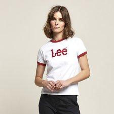 Image of Lee Jeans Australia White / Red RAGLAN RINGER LOGO TEE WHITE / RED