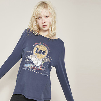 Image of Lee Jeans Australia Faded Navy ORIGINAL EAGLE LS TEE FADED NAVY