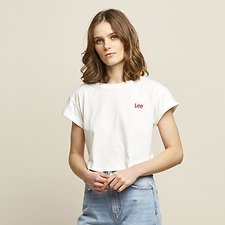 Image of Lee Jeans Australia White/Red CROP SCOOP TEE WHITE RED LOGO