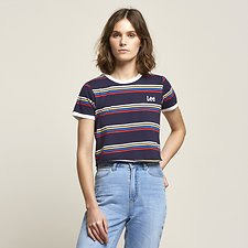 Picture of RAINBOW STRIPE OUTLAND TEE NAVY