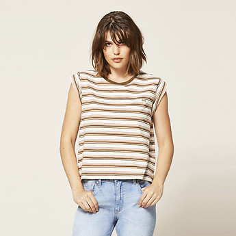 Image of Lee Jeans Australia Grapeleaf CONTRAST STRIPE NO BRAINER TEE GRAPELEAF