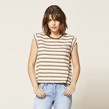 Picture of CONTRAST STRIPE NO BRAINER TEE GRAPELEAF