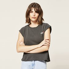 Picture of NO BRAINER ROSE TEE WASHED BLACK