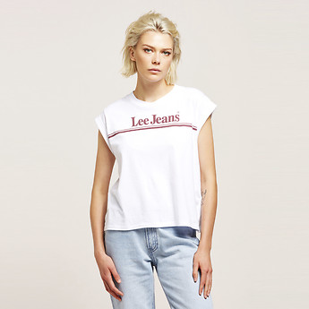 Image of Lee 70S STRIPE NO BRAINER TEE WHITE