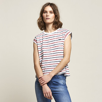 Image of Lee Jeans Australia White Stripe SO FINE NO BRAINER TEE WHITE STRIPE