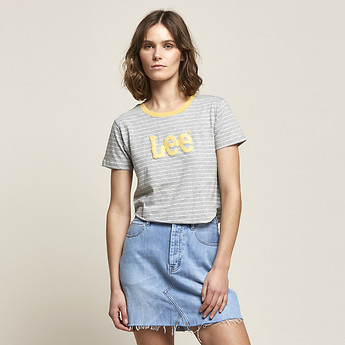 Image of Lee Jeans Australia Grey/Yellow OUTLAND CLASH TEE GREY/YELLOW