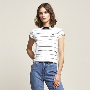 Image of Lee Jeans Australia White / Black MONO STRIPE SKINNY TEE WHITE & BLACK