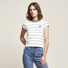 Image of Lee Jeans Australia White / Black MONO STRIPE SKINNY TEE WHITE & BLACK