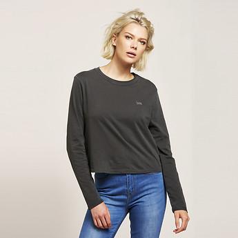 Image of Lee Jeans Australia Washed Black REVERSE BOYFRIEND LONGSLEEVE CROP WASHED BLACK