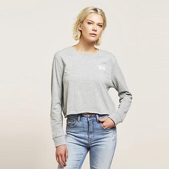Image of Lee Jeans Australia Grey Marle LONGSLEEVE LOGO CROP TEE GREY MARLE