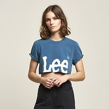 Image of Lee Jeans Australia Washed Teal CROP N ROLL TEE WASHED TEAL