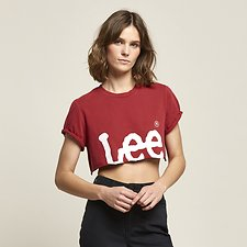 Picture of CROP N ROLL TEE 80'S RED
