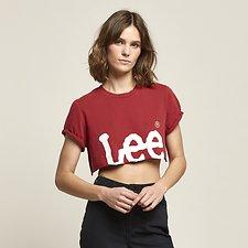 Image of Lee Jeans Australia 80s Red CROP N ROLL TEE 80'S RED