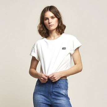 Image of Lee Jeans Australia Vintage Black  CROP SCOOP BOYFRIEND TEE VINTAGE WHITE