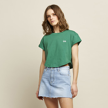 Image of Lee Jeans Australia Fig Green CROP SCOOP TEE FIG GREEN