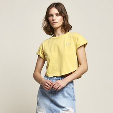Image of Lee Jeans Australia Yellow CROP SCOOP BOYFRIEND TEE YELLOW