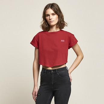 Image of Lee Jeans Australia 80s Red CROP SCOOP BOYFRIEND TEE 80S RED