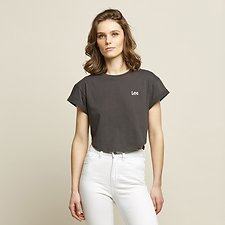 Image of Lee Jeans Australia Washed Black CROP SCOOP TEE WASHED BLACK