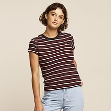 Image of Lee Jeans Australia Black Stripe STRIPE SKINNY TEE BLACK STRIPE