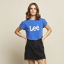 Image of Lee Jeans Australia Cobalt CROP SCOOP LOGO TEE COBALT BLUE