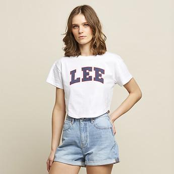Image of Lee Jeans Australia White / Navy COLLEGE CROP SCOOP TEE WHITE / NAVY