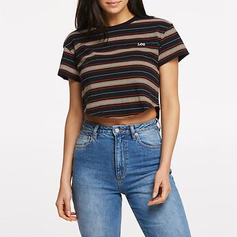 Image of Lee Jeans Australia Black Stripe BELLA CROP SCOOP TEE BLACK STRIPE