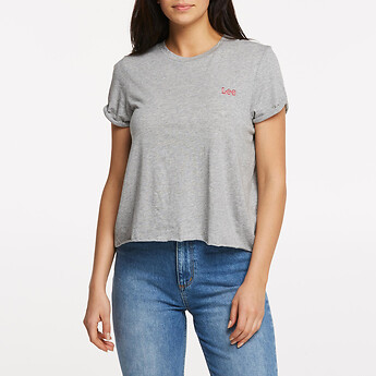 Image of Lee Jeans Australia Claret ROLLED NO BRAINER TEE GREY MARLE