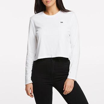 Image of Lee Jeans Australia White   NO BRAINER CROP LS TEE WHITE
