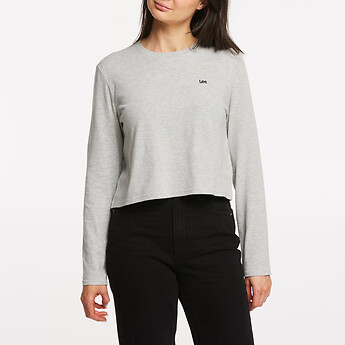 Image of Lee Jeans Australia Grey Marle NO BRAINER CROP LS TEE GREY MARLE