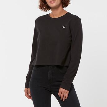 Image of Lee Jeans Australia Washed Black NO BRAINER CROP LS TEE WASHED BLACK