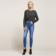 Image of Lee Jeans Australia Orion Blue HIGH LICKS CROP ZIP ORION BLUE