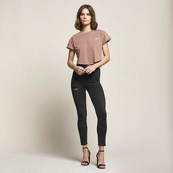 Image of Lee Jeans Australia Onyx Black HIGH LICKS CROP ONYX RIP