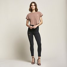 Image of Lee Jeans Australia Onyx Black HIGH LICKS CROP ONYX RIP