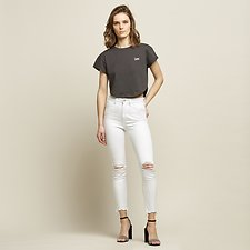 Image of Lee Jeans Australia Chalk Destruct HIGH LICKS CROP CHALK DESTRUCT